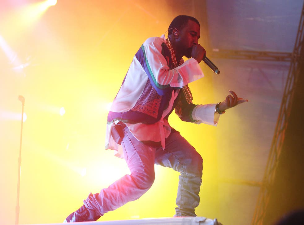 Kanye West performs on stage in Sydney, Australia