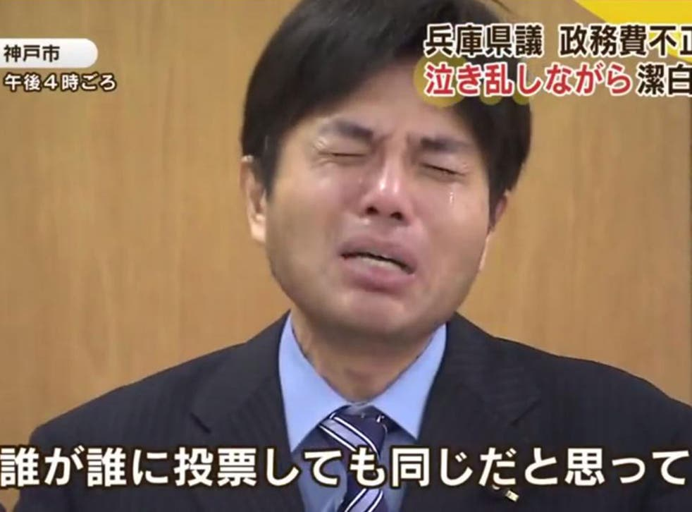 Video footage of a Japanese politician who claimed 3 million yen (£172,300) on expenses defending his actions in a tear-filled, emotional rant has gone viral.