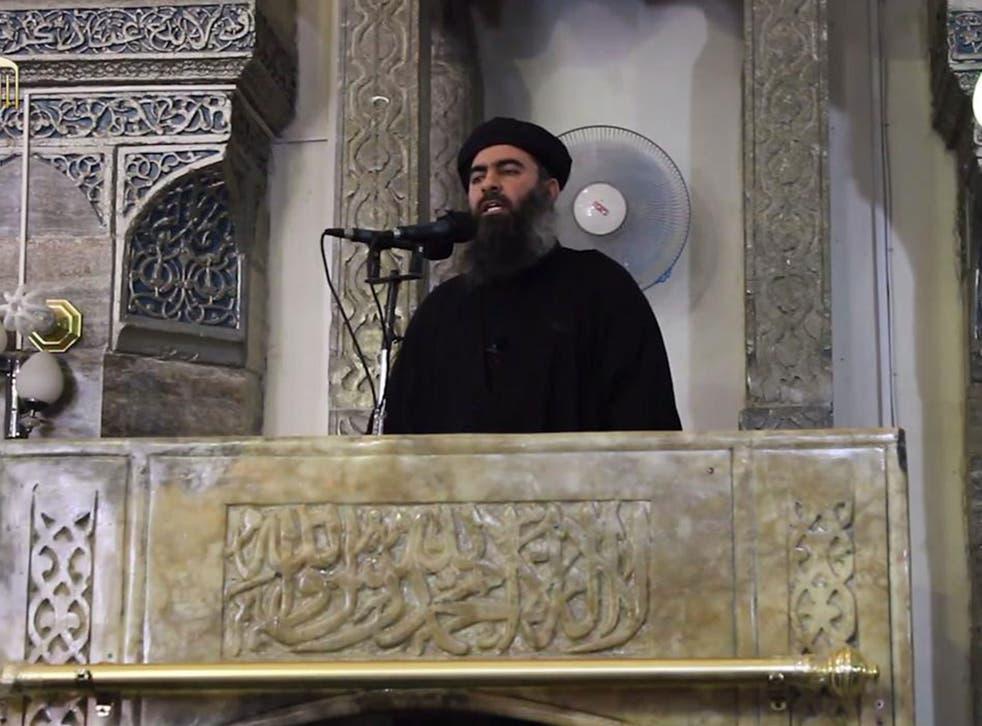 Abu Bakr al-Baghdadi speaking at the Grand Mosque in Mosul