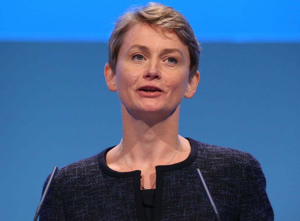 Yvette Cooper speaking at the Labour Party conference last year