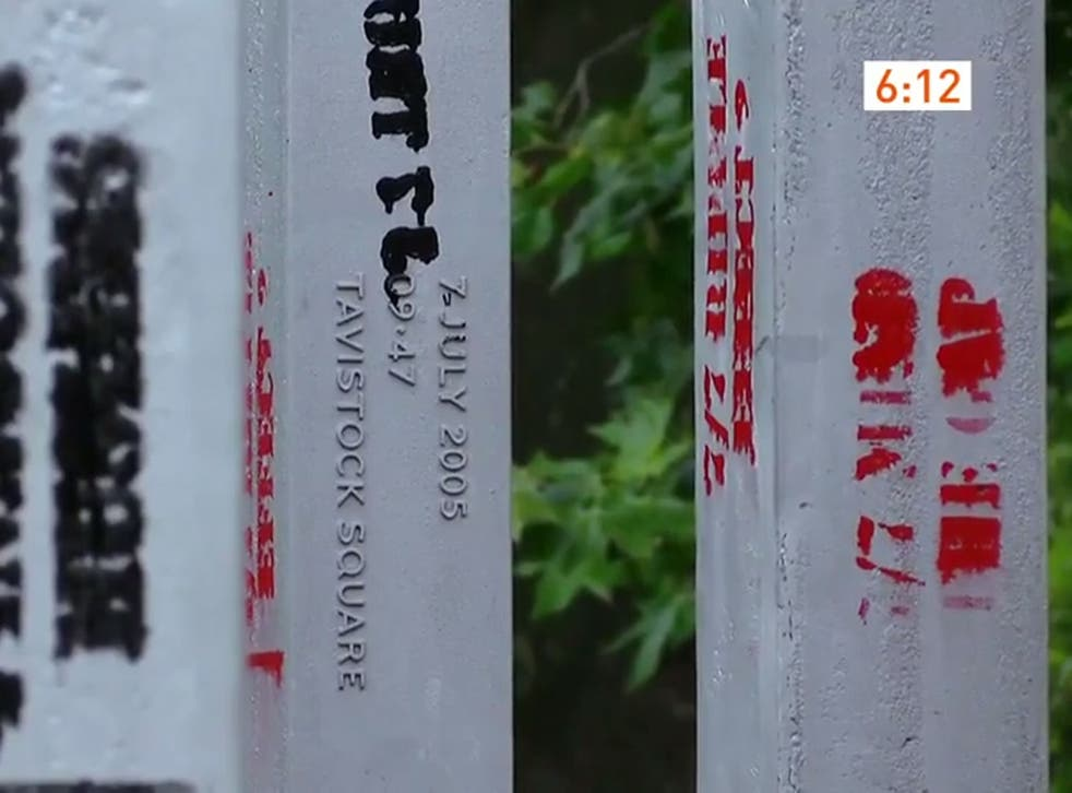 This London Live screengrab shows the graffiti on three of the 52 pillars dedicated to the victims of the 2005 bombings
