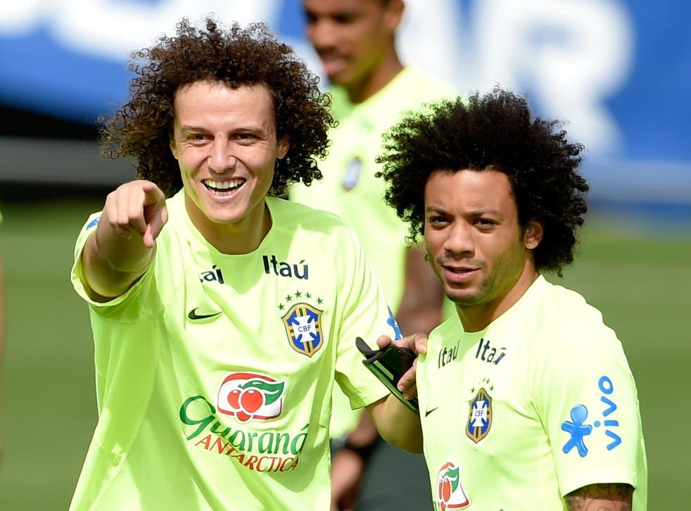 David Luiz with Marcelo ahead of Brazil's semi-final