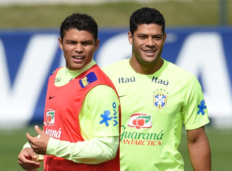 Thiago Silva trains with the Brazil squad despite his suspension from the semi-final