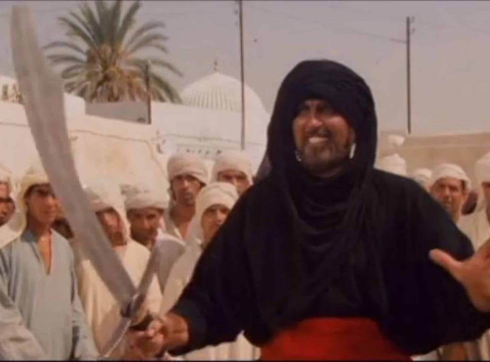 Richards as the local with the scimitar who loses out to Harrison Ford in 'Raiders of the Lost Ark'