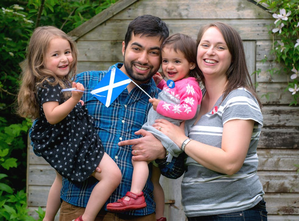 Fiona Sarwar, with her husband Mohsin  and children Hannah  and Abigail, at their home in Coupar Angus, Perthshire