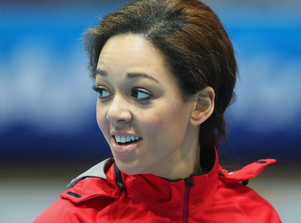 Katarina Johnson-Thompson competes in Glasgow on Friday