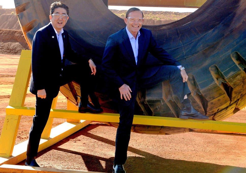 Australian Prime Minister Tony Abbott (R) And Japanese Prime Minister  Shinzo Abe Pose For