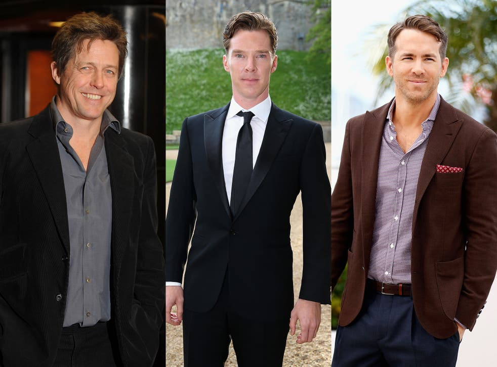 Several male celebrities have confessed to being on a diet, including, from left to right, Hugh Grant, Benedict Cumberbatch and Ryan Reynolds