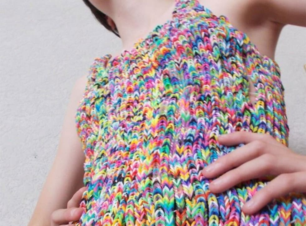 Detail of the dress made entirely of loom bands