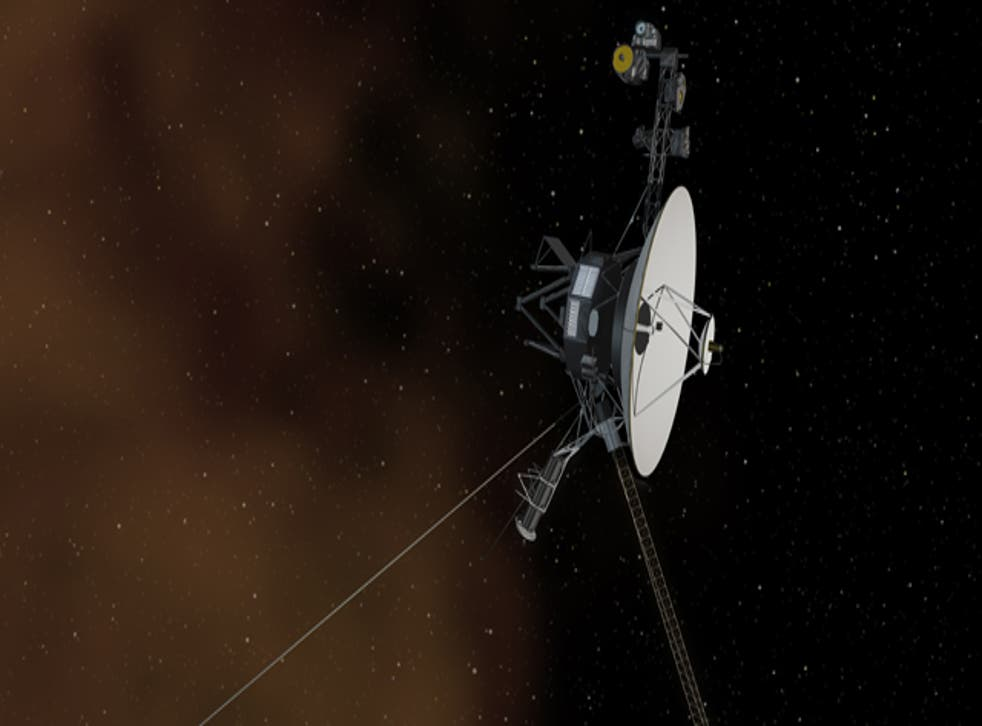This artist's concept shows the Voyager 1 spacecraft entering the space between stars. The Space Between: This artist's concept shows the Voyager 1 spacecraft entering the space between stars. Interstellar space is dominated by plasma, ionized gas (illustrated here as brownish haze), that was thrown off by giant stars millions of years ago.