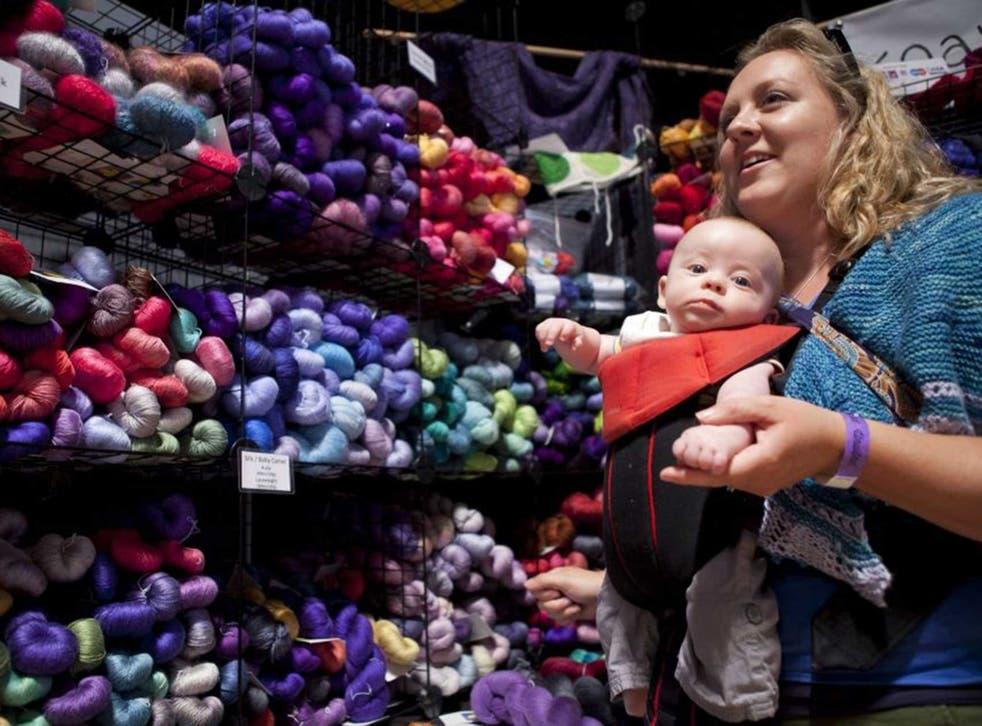 Alfie Blaza (3 months ) and mum Gemma at the Unwind knitting event