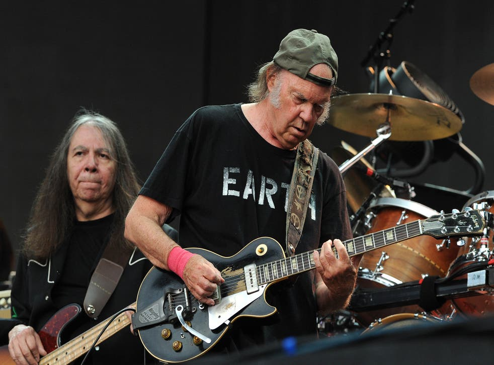 Neil Young performs on stage at Hyde Park