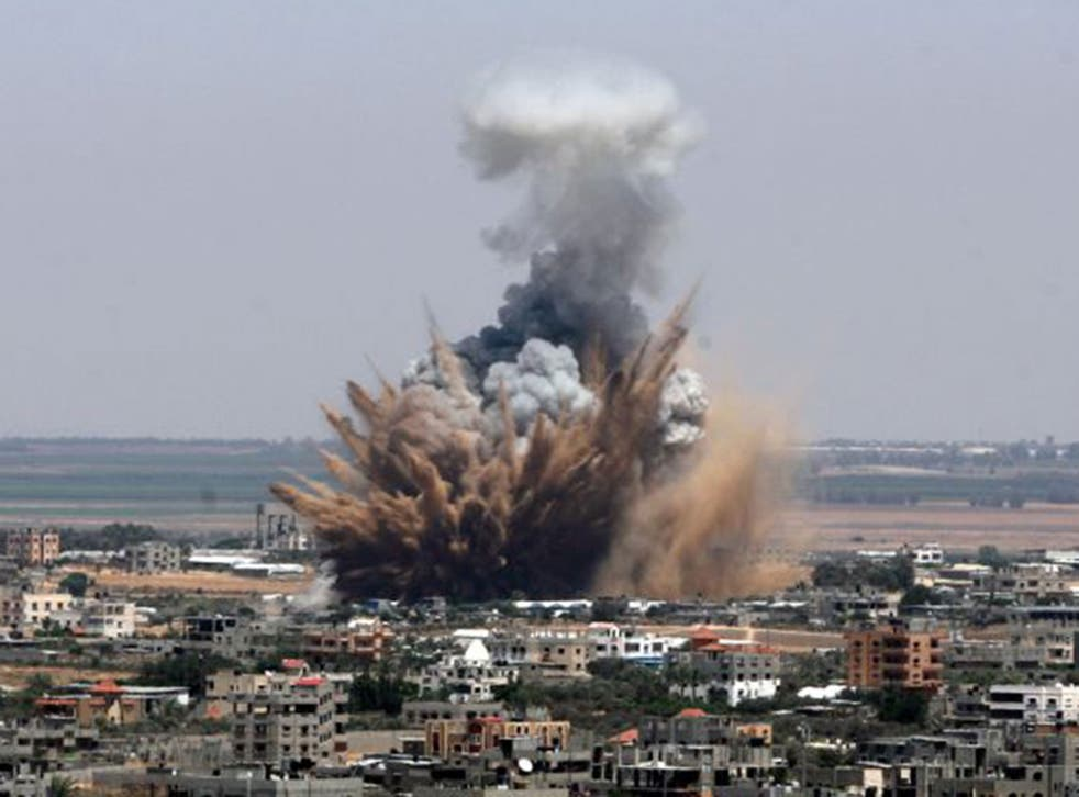 An explosion from an Israeli air attack in Gaza city on 8th July 2014. However, analysis has found that some of the pictures of violence circulated on the #gazaunderattack thread were recycled images from as long ago as 2007