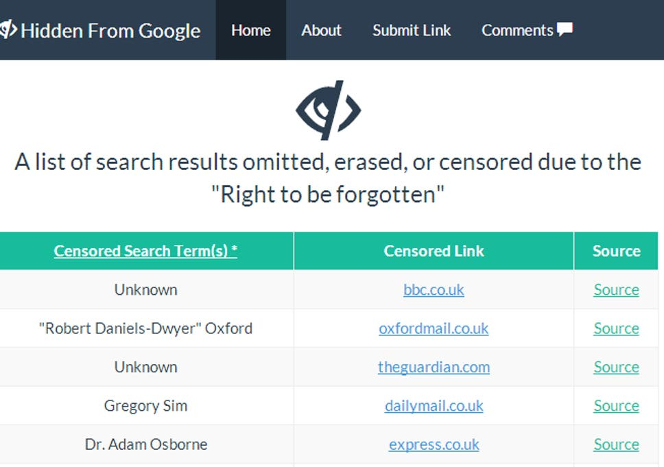 Hidden From Google' website lists articles removed from