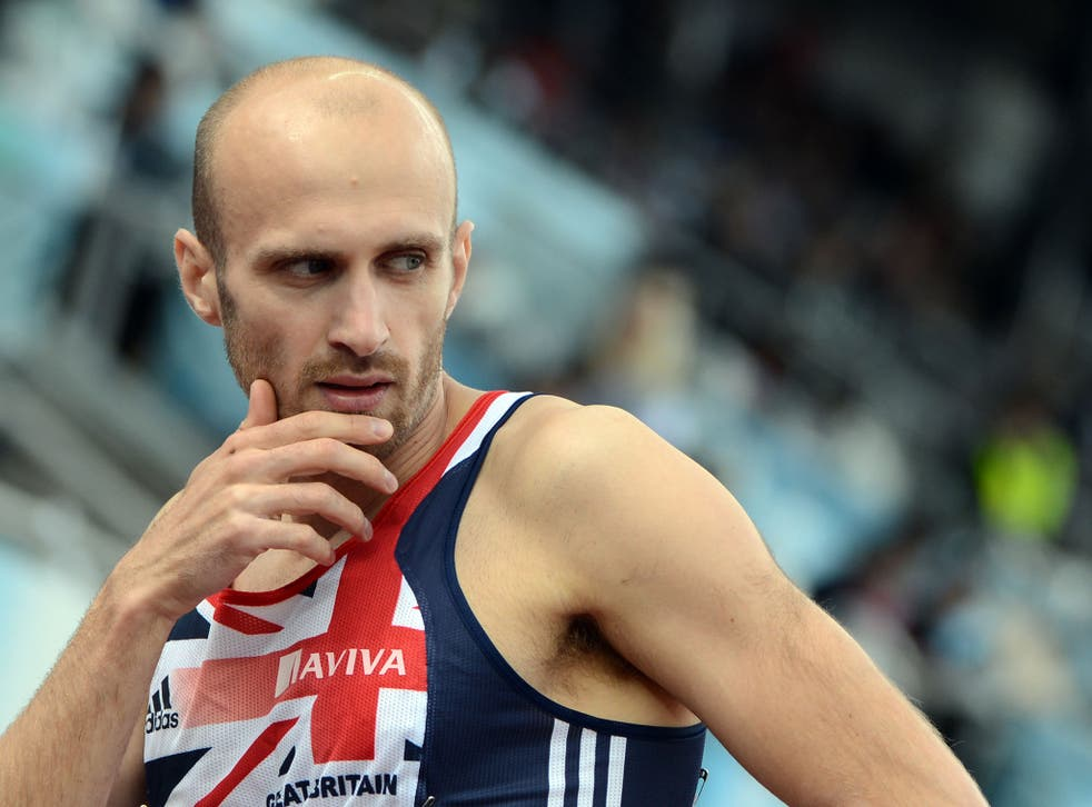 Britain's Gareth Warburton reacts after the men's 800m qualifications at the 2012 European Athletics Championships at the Olympic Stadium in Helsinki