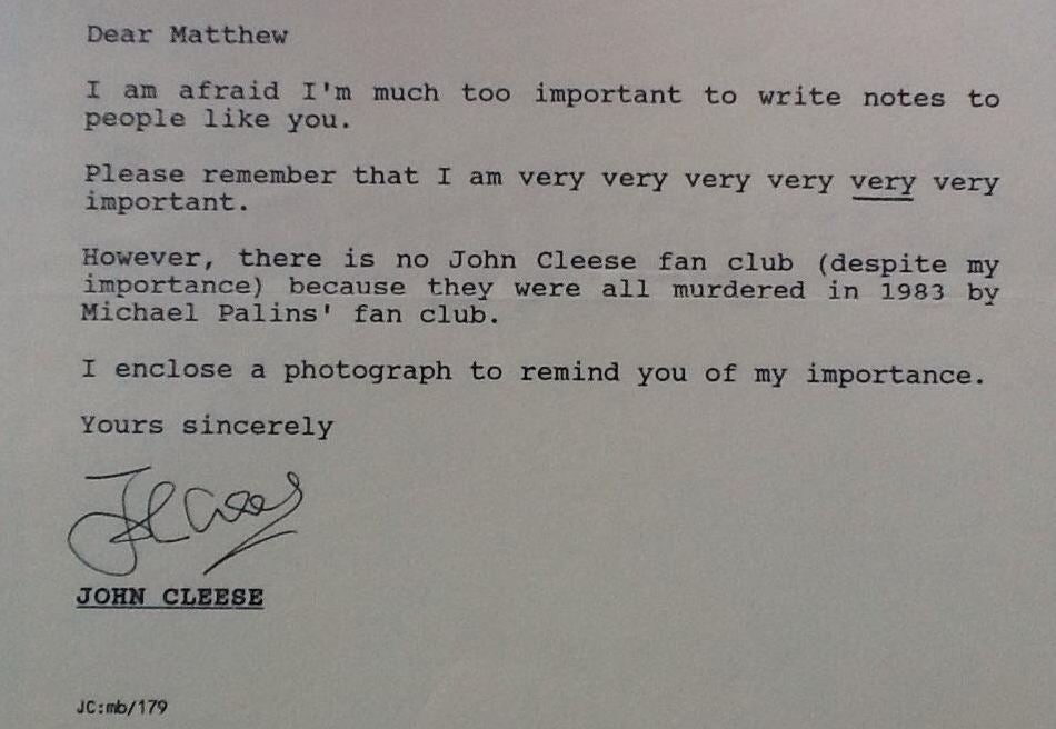 John Cleese penned a brilliant response to a letter inquiring