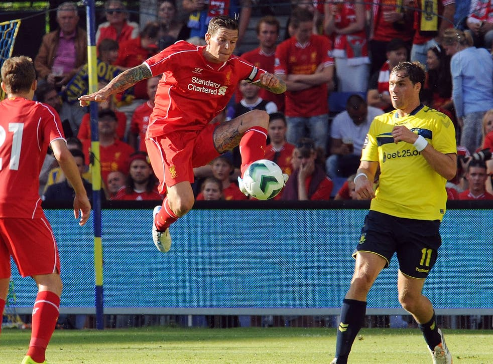 Daniel Agger in action during Liverpool's pre-season friendly defeat to Brondby