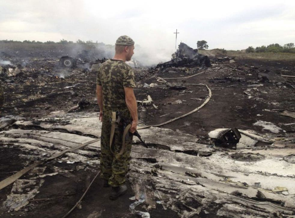 An armed pro-Russian separatist stands at a site of a Malaysia Airlines Boeing 777 plane crash in the settlement of Grabovo in the Donetsk region of Ukraine