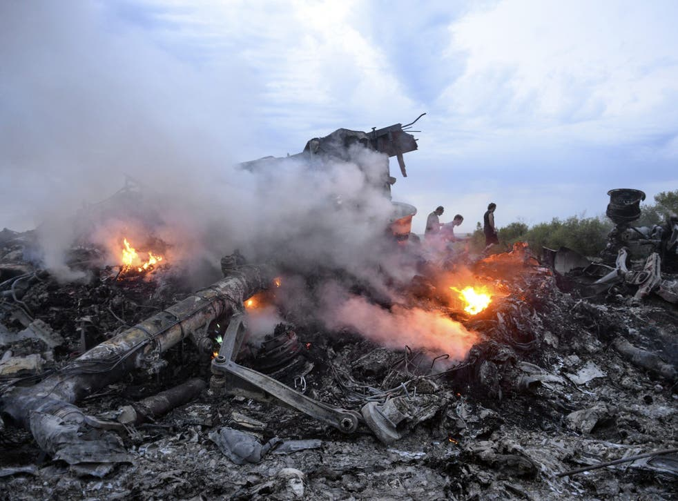 Debris of the Boeing 777, Malaysia Arilines flight MH17, which crashed during flying over the eastern Ukraine region near Donetsk