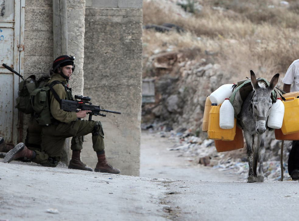 A donkey strapped with explosives was blown up after Israeli forces opened fire on the animal