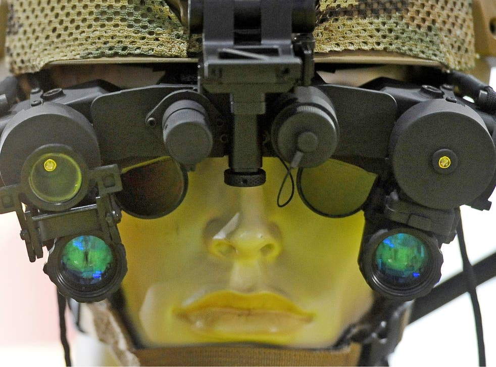 Nightvision goggles on display at the DSEI arms fair in London last year