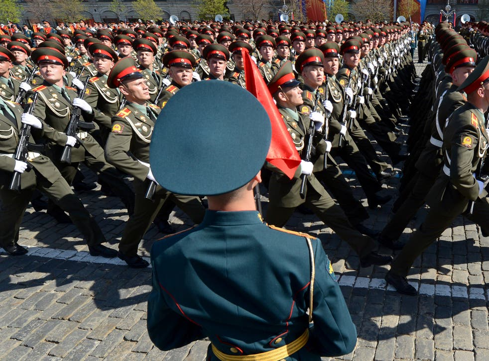 A Russian military parade in Red Square, Moscow