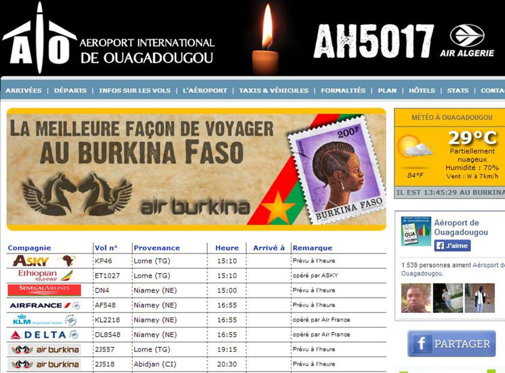 A screen shot of the banner image paying tribute to the AH5017 crash on the ouagadougou airport website