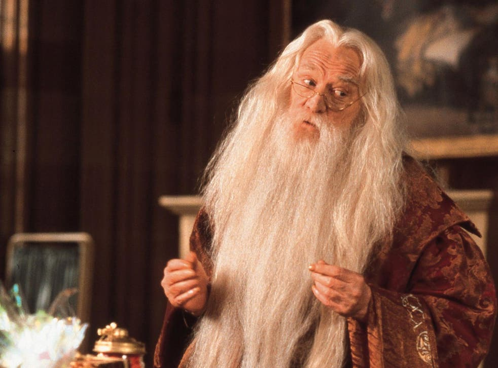 Albus Dumbledore, the headmaster of Hogwarts School of Witchcraft and Wizardry, played by Richard Harris