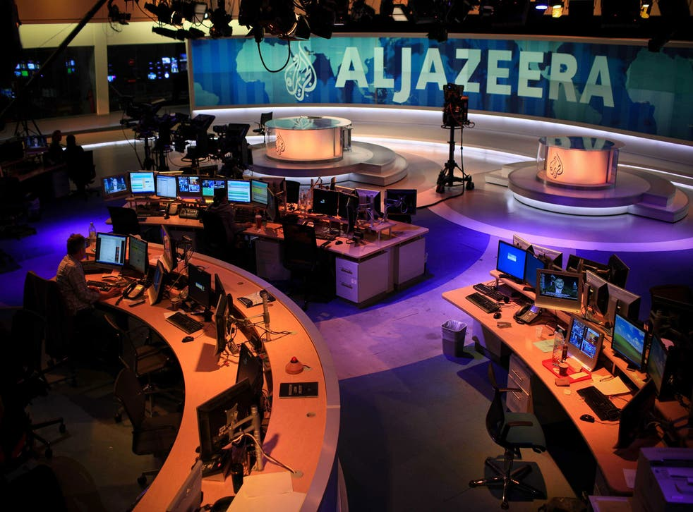 The newsroom at al-Jazeera which has suffered from a cyber attack