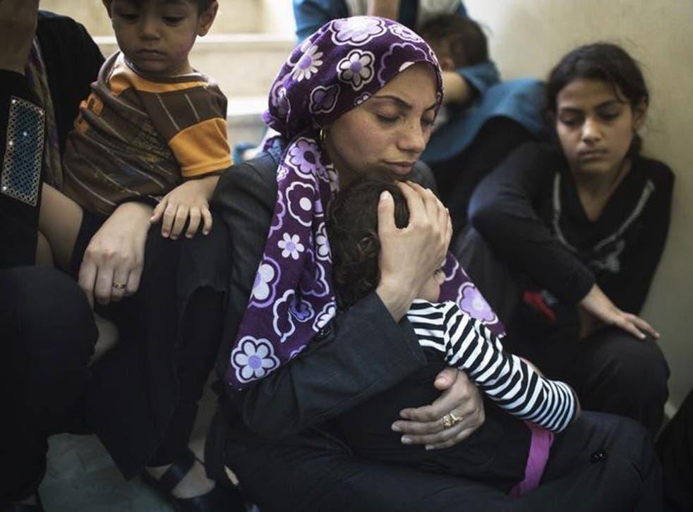Families in Beit Hanoun yesterday