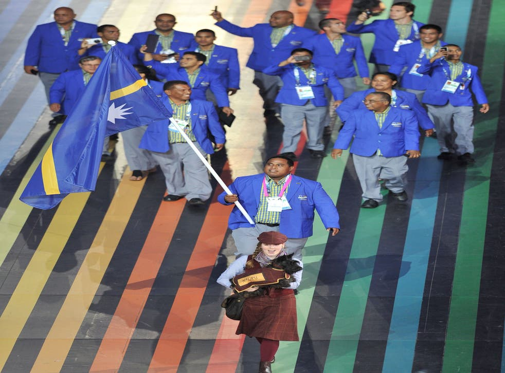 The team from Nauru enter the stadium during the Commonwealth Games' opening ceremony in Glasgow on Wednesday evening