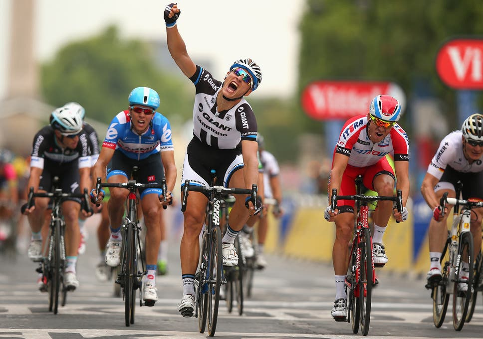 af73cbf7f Germany s Marcel Kittel celebrates as he crosses the finish line on the  final stage of the