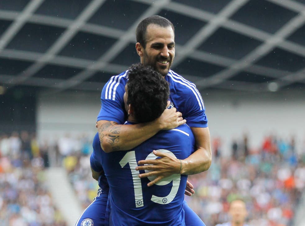 Cesc Fabregas celebrates his goal with Diego Costa on Wednesday night