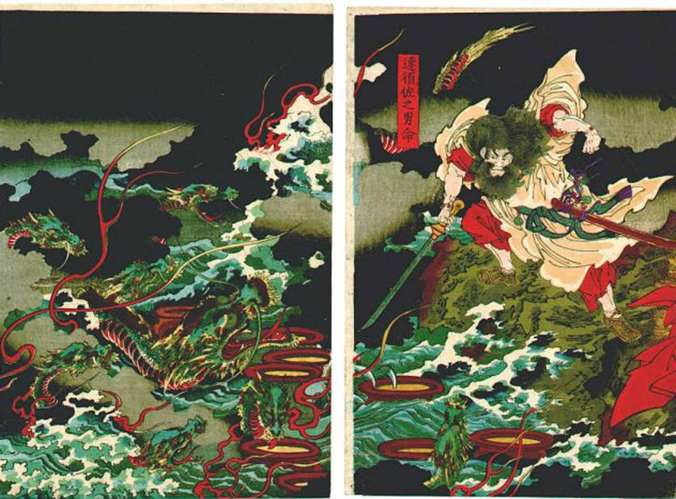 Story line: Susanoo slays the Yamata no Orochi serpent in the Japanese version of a myth dating back 40,000 years