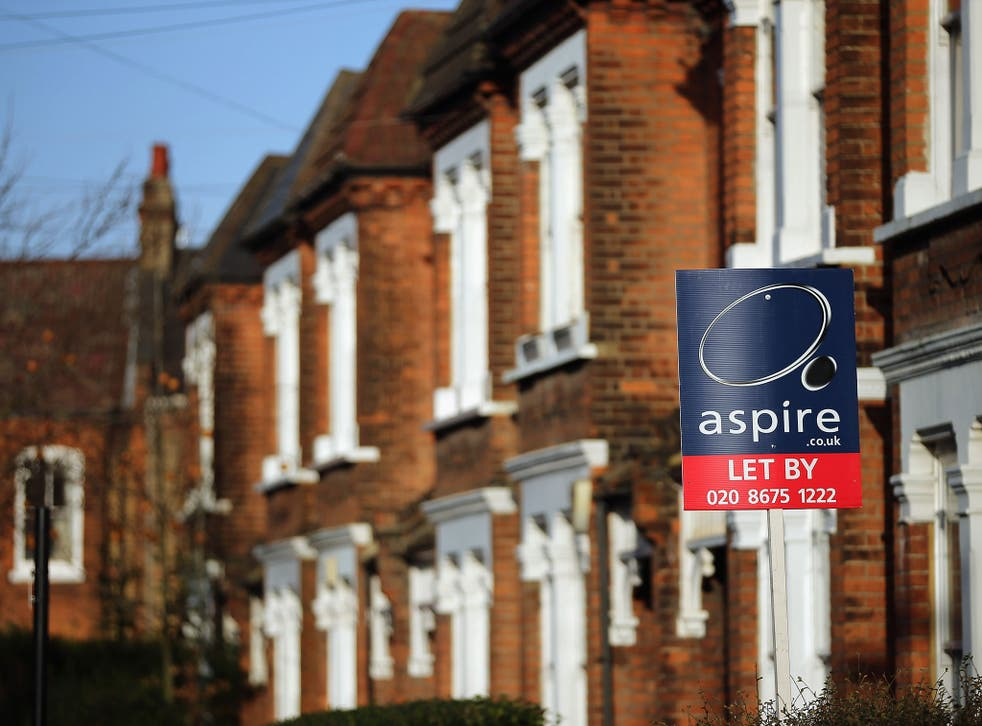 A general view of a To Let sign next to property near Clapham in London, England