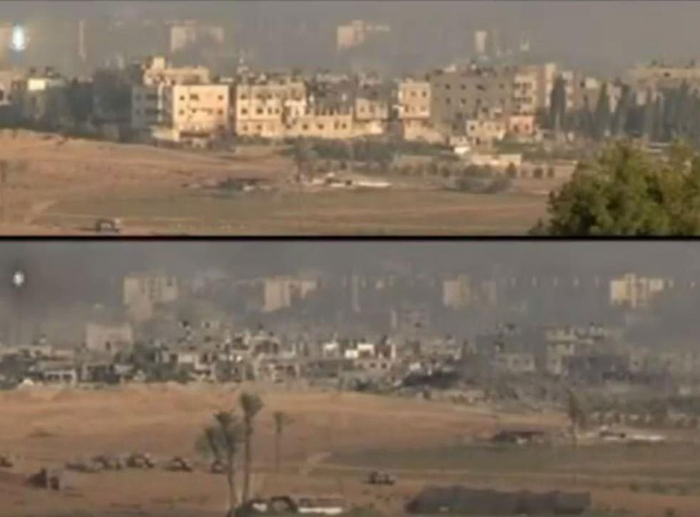 Stills from a video purporting to show a Gaza street before and after it is devastated by an airstrike