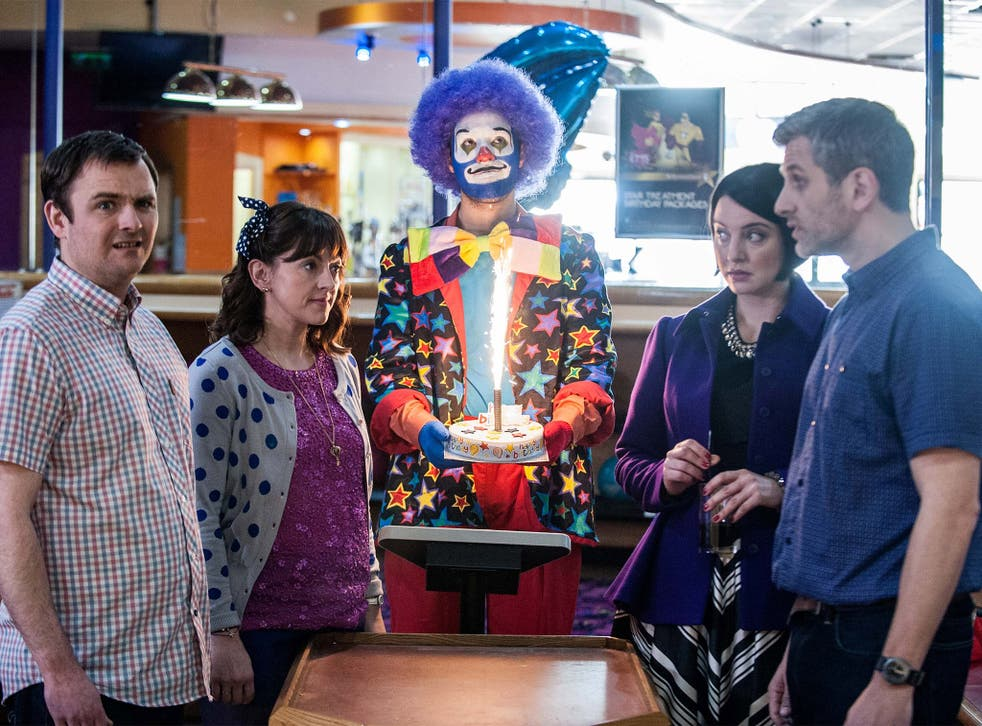 Clowning around: Neil Maskell, Jo Hartley, Jamie Demetriou, Rebecca Gethings and Terry Mynott in 'The Mimic'