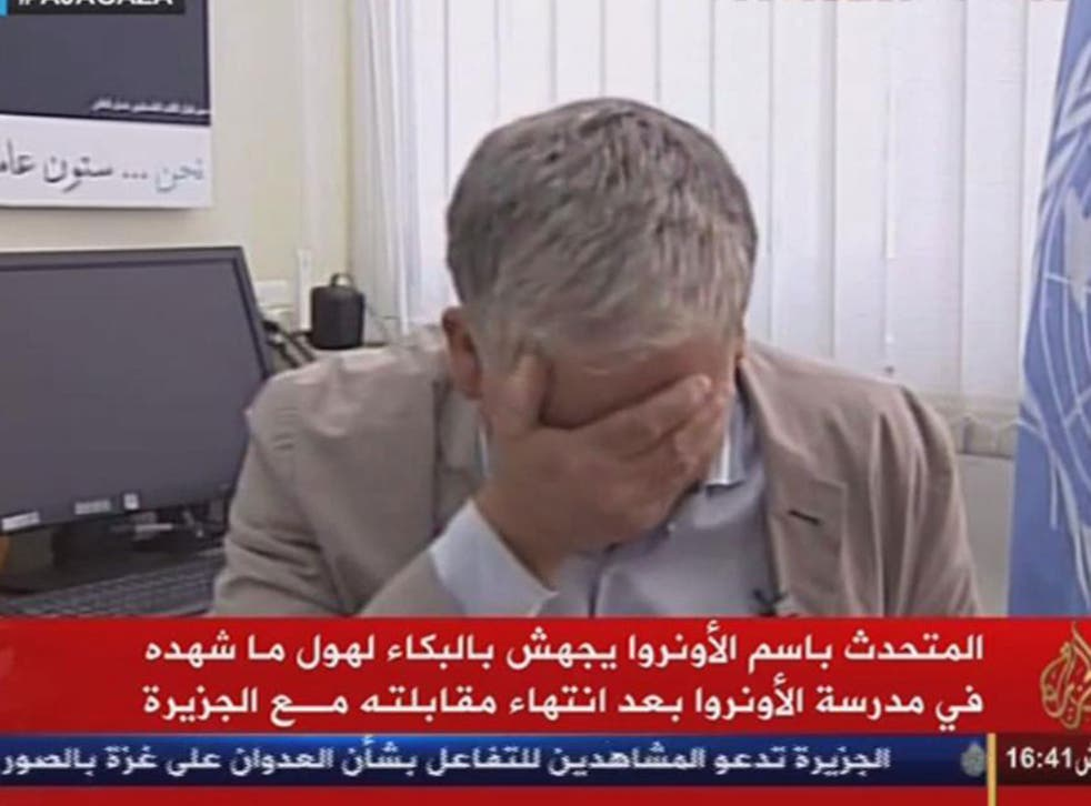 The moment Chris Gunness broke down shortly after an interview with Al Jazeera