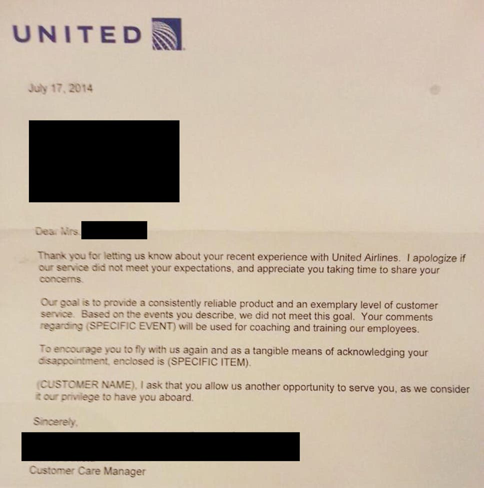 United airlines pens least sincere apology letter of all time the united airlines pens least sincere apology letter of all time altavistaventures