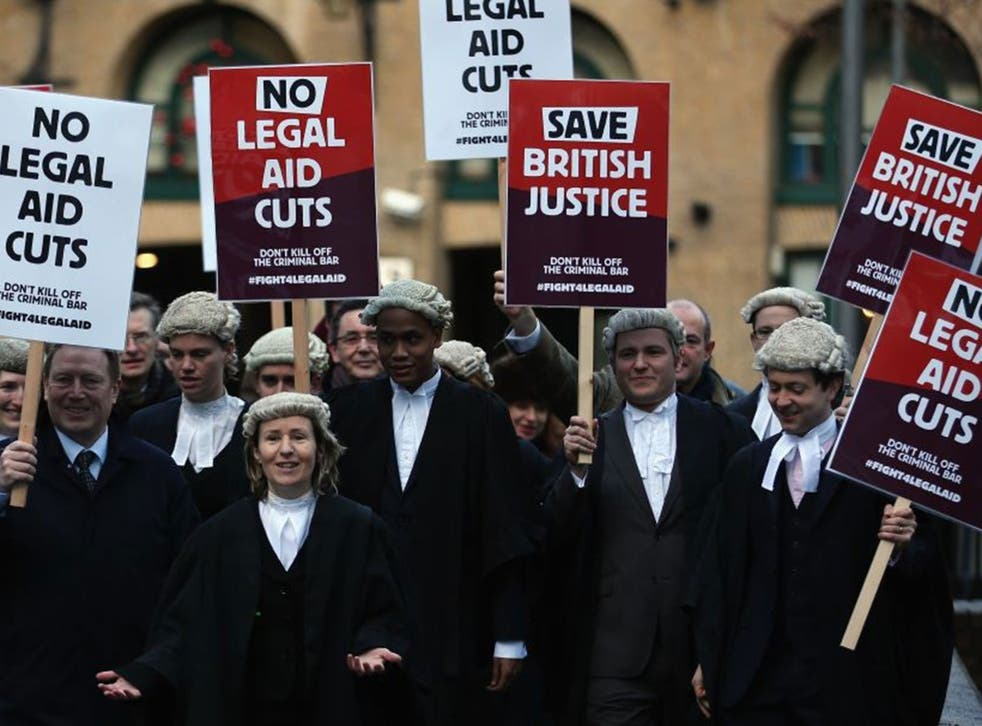 Barristers line up outside Southwark Crown Court on 6 January