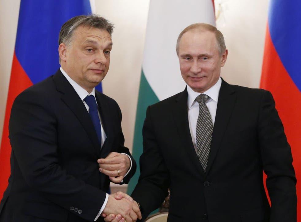 Hungary's Prime Minister Viktor Orban with Russian leader Vladimir Putin