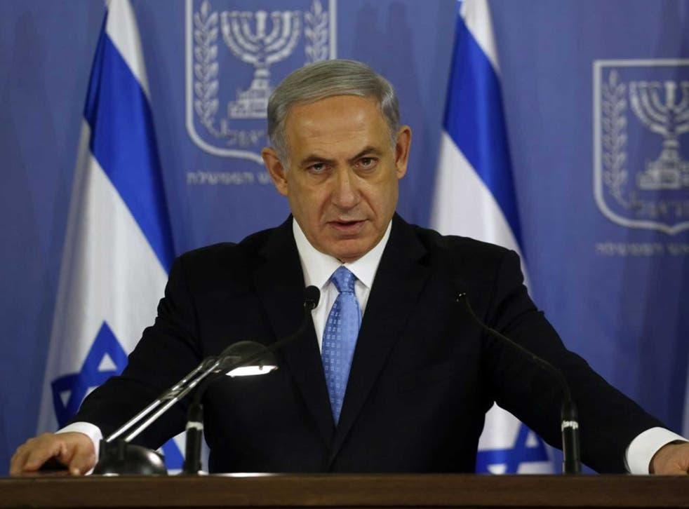 Israeli Prime Minister Benjamin Netanyahu speaks during a joint press conference