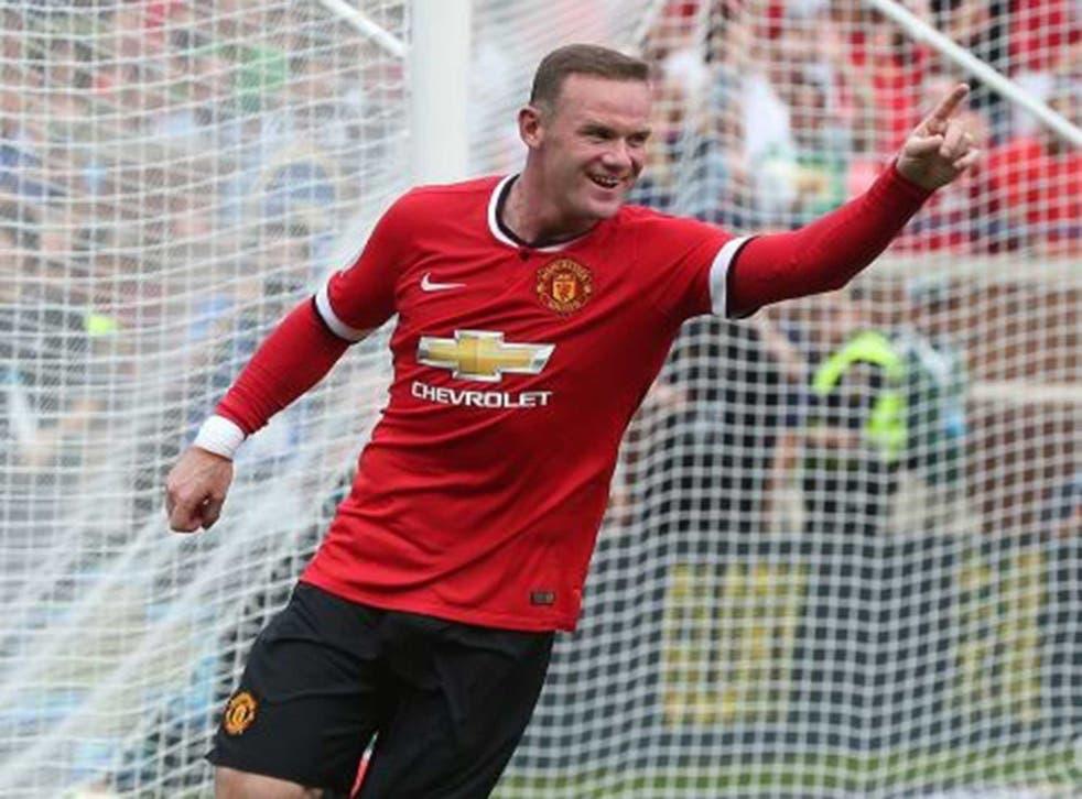 Wayne Rooney of  Manchester United celebrates scoring