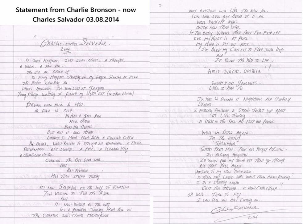 Bronson's hand-written letter announcing his name change, published on the Charlie Bronson Appeal Fund website