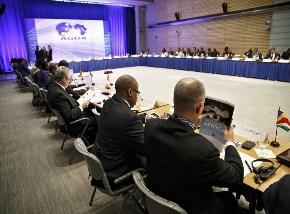 Delegates to the African Growth and Opportunity Act Forum gather for a meeting at the World Bank in Washington