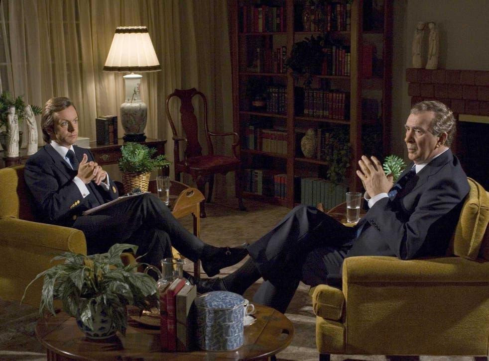 Tight-lipped: Michael Sheen as David Frost and Frank Langella as mRichard Nixon in the film version of Frost/Nixon