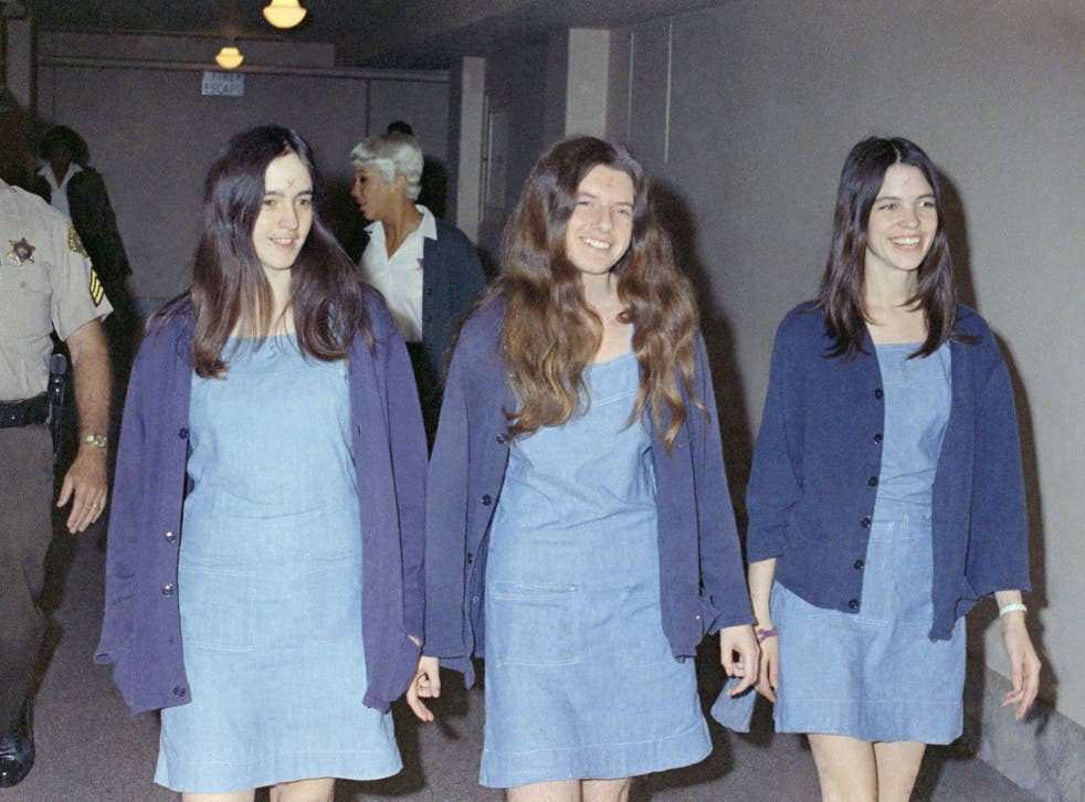 Patricia Krenwinkel (centre) arrives at court with fellow 'Family' members Susan Atkins (left) and Leslie van Houten in 1969
