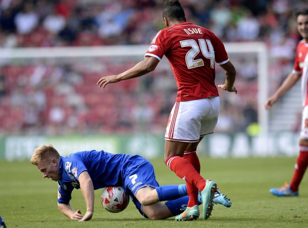 Birmingham's Mark Duffy is tripped by Middlesbrough's Emilio Nsue