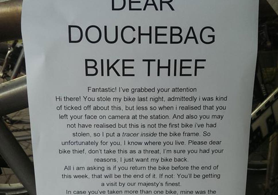 Bike Thief Victim Gets Own Back On Thief With Hilarious Letter That