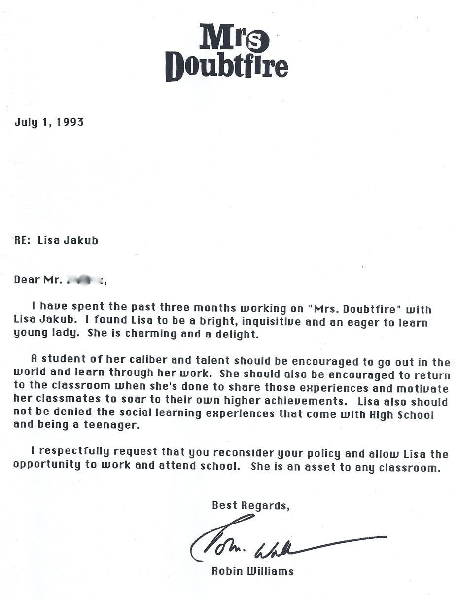 Heres The Damning Letter Robin Williams Wrote To His Mrs Doubtfire